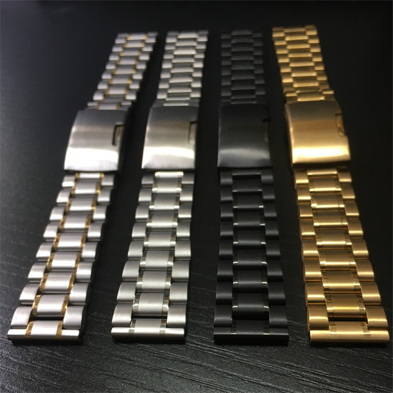 14mm 16mm 18mm 19mm 20mm 21mm 22mm 24mm 26mm Wristbands Stainless Steel Watch Straps Folding Buckle With Tool Watch Accessories