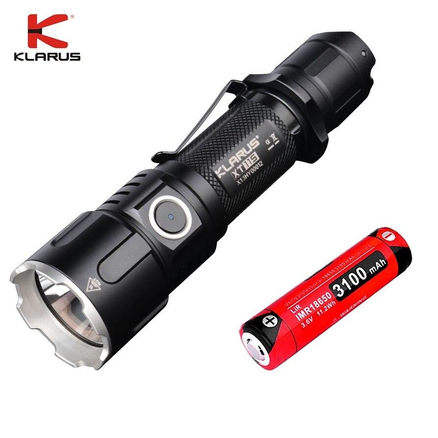 Nouveau KLARUS XT11GT CREE XHP35 LED 2000 Lm 4 Mode tactique lampe de poche LED + Port USB gratuit et 18650 Battey pour l'auto défense