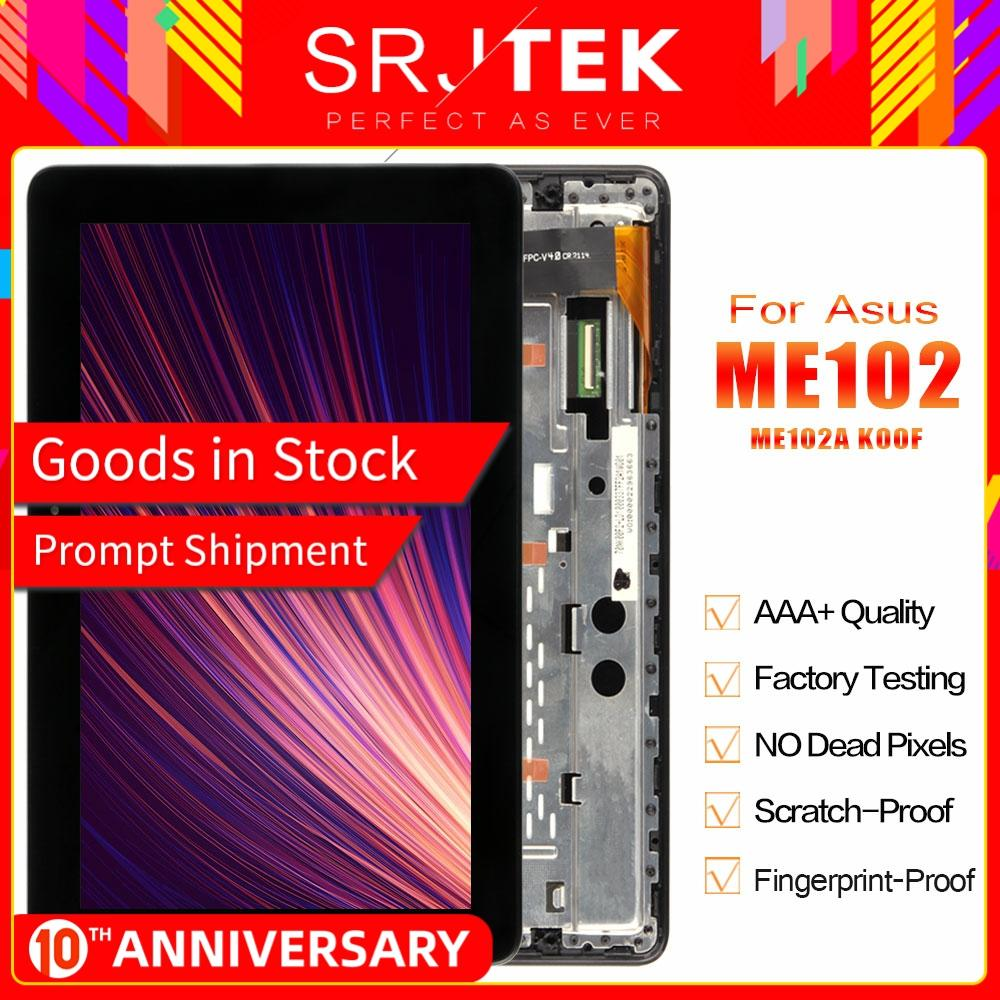 Stjtek For Asus MeMO Pad 10 ME102 ME102A K00F MCF-101-0990-01-FPC-V4.0 LCD Display Digitizer Touch Screen Assembly With Frame