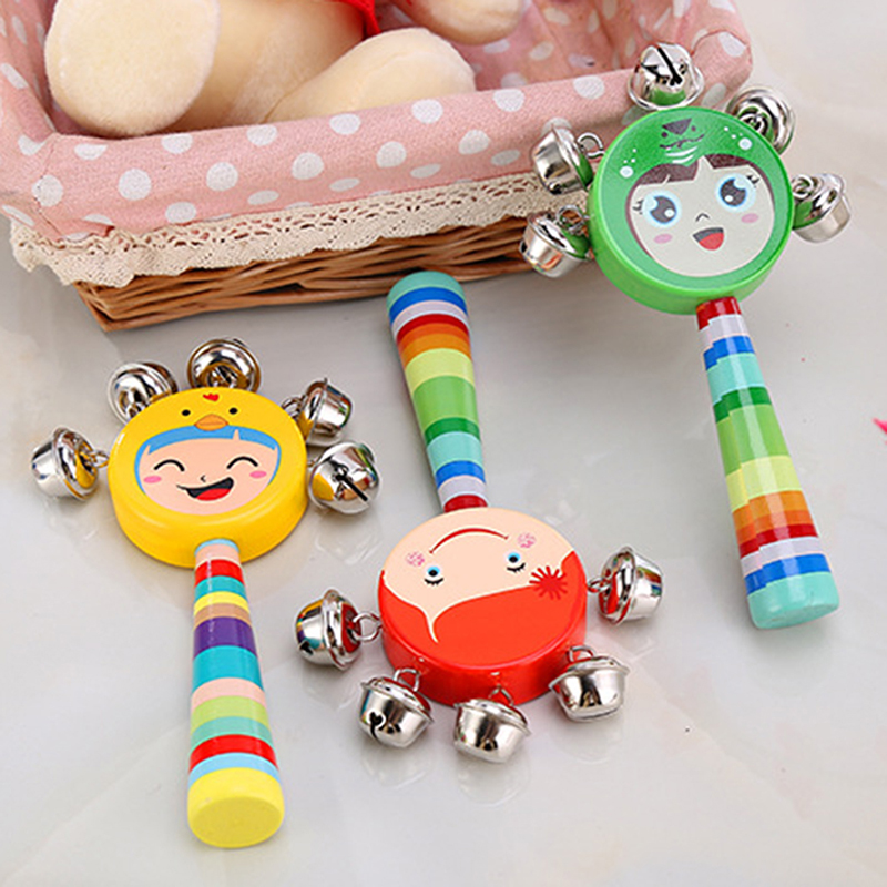 Wooden Maraca Bell Baby Toys Children's Wooden Cartoon Smiley Rattle Infant Early Childhood Teaching Aids Rattles Baby Toys