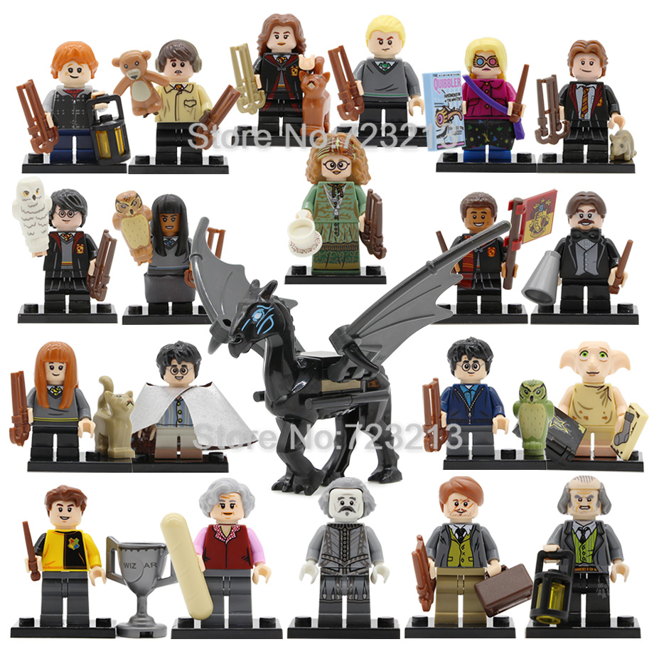21pcs/lot Harry Figure Set Hermione Ron Dumbledore Lord Voldemort Malfoy Model Building Blocks Kits Brick Toys Legoing