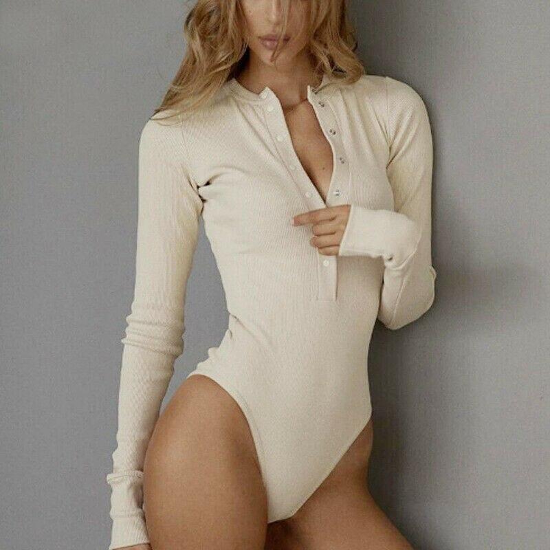 2020 Women Bodusuit Ladies Sexy Leotard V-Neck Long Sleeve Tops Button Down Casual Bodysuit Jumpsuit Romper