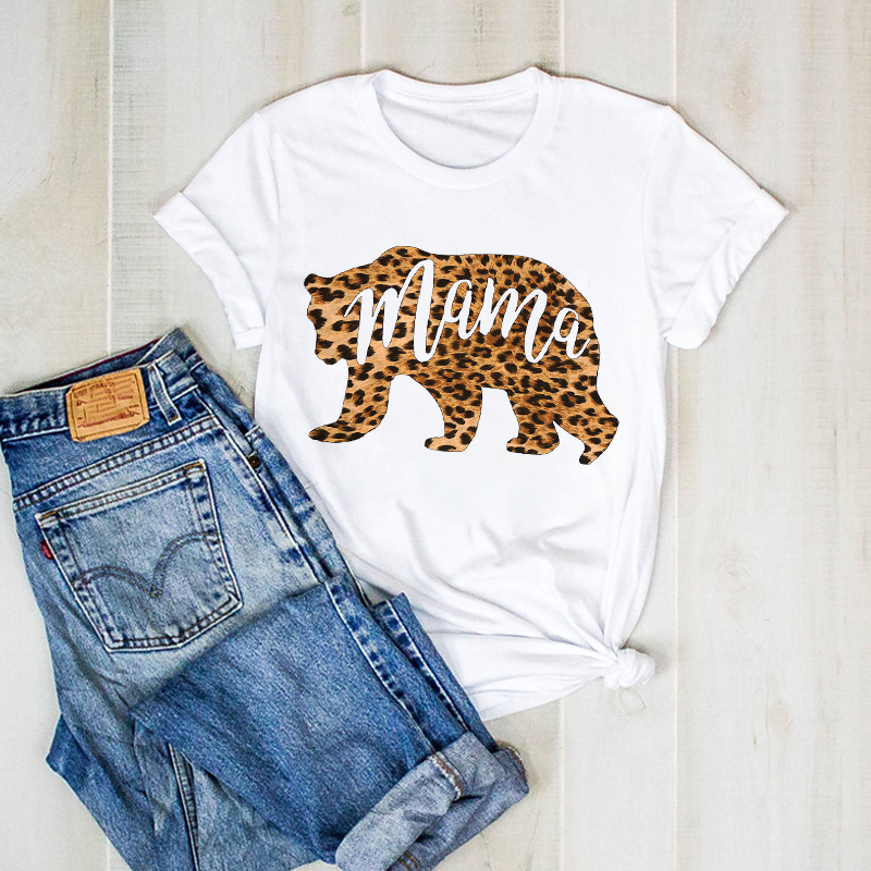 Women Print Lady Mom Leopard Mama Bear Mother Graphic T Ladies Clothes Tee Female Top Tshirt Womens Shirt Clothing T-shirt