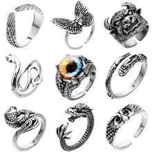 Mode Schlange Ring Retro Tier Silber Farbe Damen Finger Ringe Unisex Offene Einstellbare Größe Reif Hoop Schmetterling Schmuck