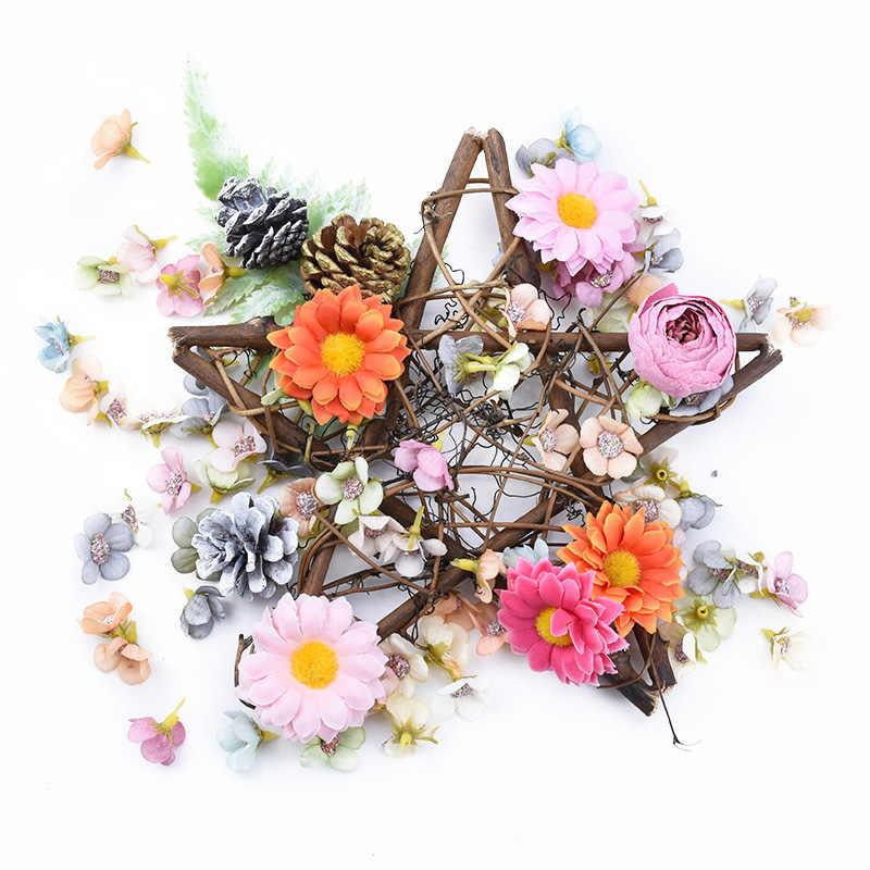 Guirlande de fleurs pierreries décorative | Ornement de mariage bon marché, couronne étoile de noël, guirlande en rotin suspendue pour porte, boîte de cadeaux bricolage, décoration de maison