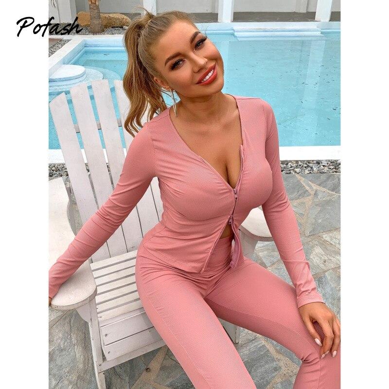 Pofash розовый тонкий комплект из двух предметов Женская одежда с длинным рукавом пальто и брюки-карандаш 2021 Женский Повседневный домашний ос...