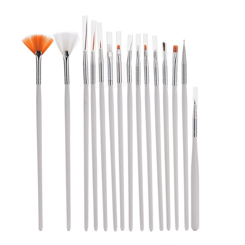 12PCS Nail Art Brush Liner Dotting Design Acrylic Builder Flat Crystal Painting Drawing Carving Pen UV Gel Manicure Tool Set