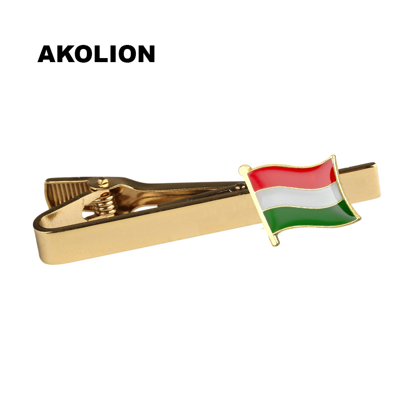 Hungary Country Flag Tie Clip Metal Men Tie Bar Clip Variety Fashion Style For Business Suit Gift 1pcs KS-0194