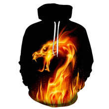 Yellow Fire Dragon 3D Fire autumn Men Sweatshirt Women Hoodies outwear Winter Handsome Hooded Male 3D Hoody hio hop clothes(China)