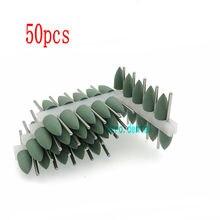 50 pçs polidores de borracha de silicone dental polimento dental rebarbas resina base acrílico hp burs 2.35mm verde