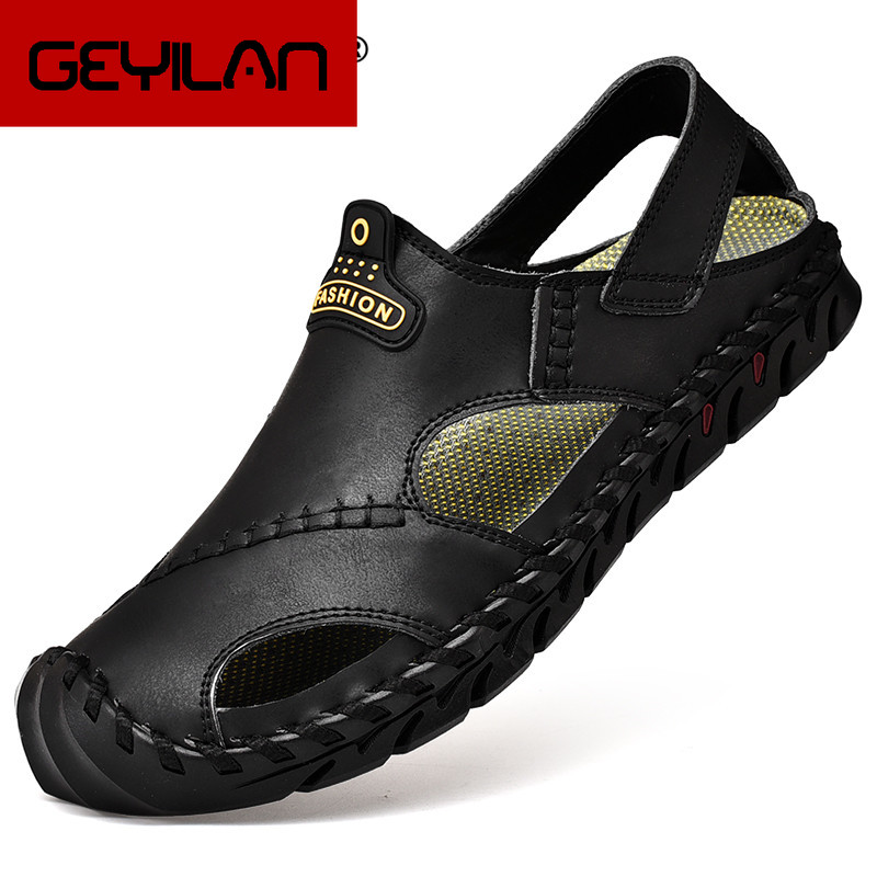 Outdoor Casual Sandals Genuine Leather Summer Men's Sandals Classic Men's Beach Sandals Soft Roman Male Casual Shoes Big Size 46