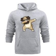 Hot Sale Mens Hoodies Casual Fashion Street Style Funny Cute Dog Cartoon Men Hoodie Gray Color Simple Sweatshirt