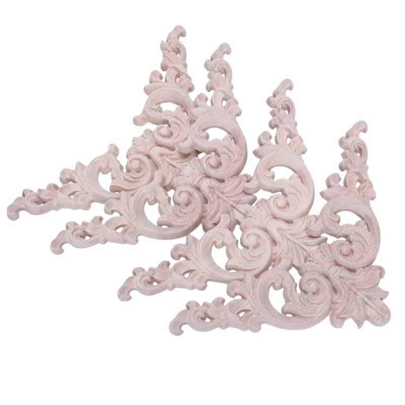 4pcs Rubber Wood Oak Carved Corner Onlay Applique Furniture Home Door Decor DIY in Figurines Miniatures from Home Garden