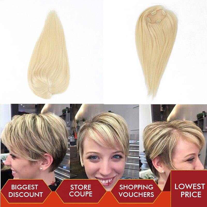 613# Toupee Hair For Women 100% Human Hair Blonde Clip Ins 2.5x4 Inch Dolago 130% Volume Extension Rosa Queen