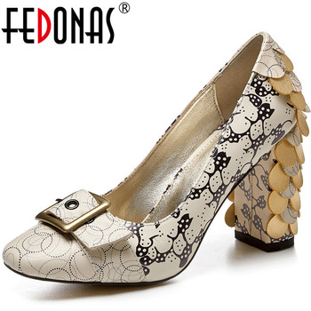 FEDONAS Fish Scale Decoration Women 2020 Button Square Heels Pumps Square Toegenuine Leather New 2020 Pring Shoes Woman