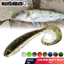Hunthouse pesca isca macia 7.5cm 3g plástico macio iscas dupla mistura cor shad iscas de pesca de água doce baixo pike muskies pescar