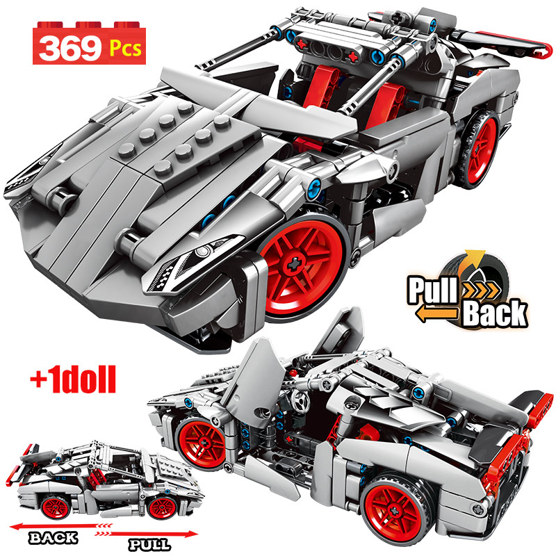 SEMBO City Pull Back Super Racing Car Model Building Blocks Legoingly Technic Creator Supercar Sports Car Bricks Toy For Boys