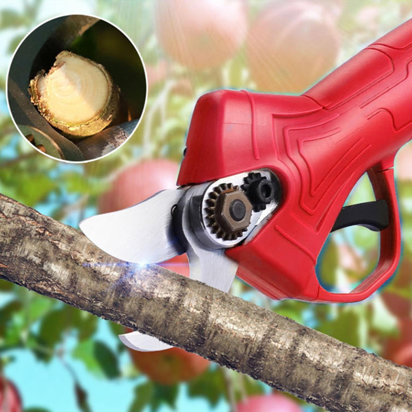 Tools : 21V Electric Pruning Shears Tree Branch Pruner Lithium-ion Pruning Shear Fruit Tree Bonsai Pruning Electric Tree Branches Cutter