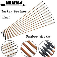 6/12pcs Archery Bamboo Arrow 5inch Turkey Feather OD8mm 83cm Traditional Arrowhead Compound Recurve Bow Shooting Accessories