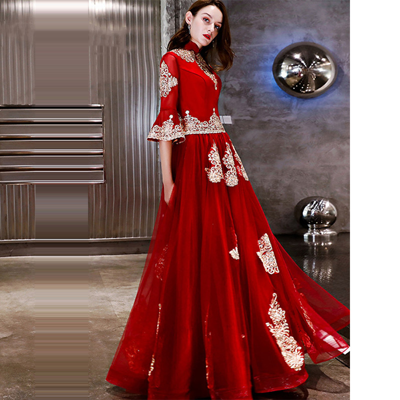 Evening Dress Vintage Red Gold Women Party Dresses Embroidery Beading Formal Gowns Elegant  Flare Sleeve Robe De Soiree LX1285