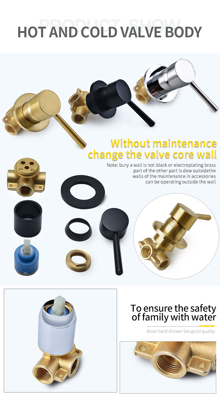 H7ca3ee2ef0e14892a178907e3122417bo Wall Mounted Bathroom Top Sprayer Brushed Gold Shower Faucet Set