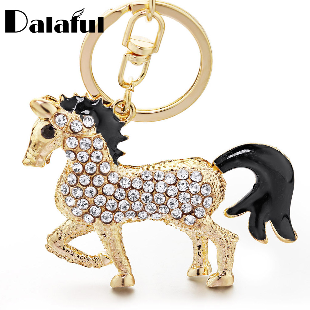 Lovely Horse Crystal Keychain Keyring For Car Animal Rhinestone Handbag Purse Bag Pendant Best Gift Women Key Chain K400