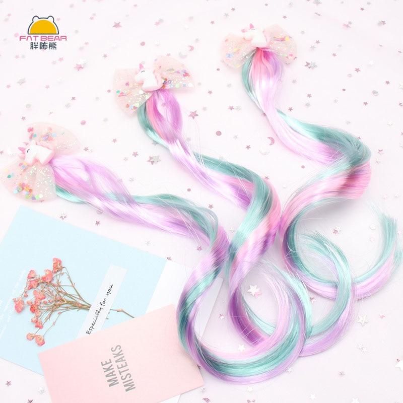 Bebê colorido lantejoulas fio unicórnio rinbow hairpins peruca colorida para meninas asas de fios barrettes colorido crianças grampos de cabelo & pinos