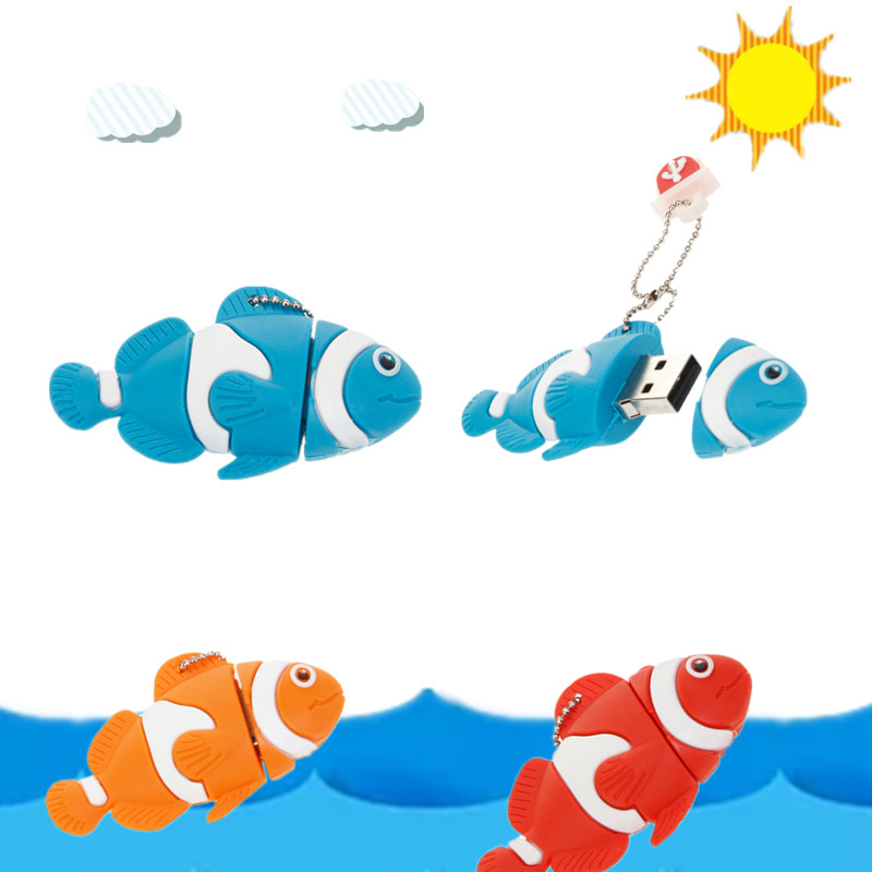 Cartoon Nemo Fish Pen Drive 8GB 16GB Pendrive Usb Flash Drive 128GB 64GB 32GB Waterproof Flash Memory Memory Stick Free Shipping