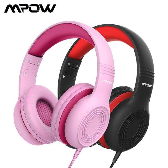 2 個mpow CH6Sキッズヘッド有線ヘッドセット子供のための調整可能な折りたたみデザインとヘッドセットマイクボリューム制限pc MP3