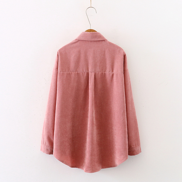 New Women Solid Corduroy Batwing Sleeve Vintage Blouse Turn-Down Collar Loose Top Button Up Pink Shirt Feminina Blusa T9D609T 4