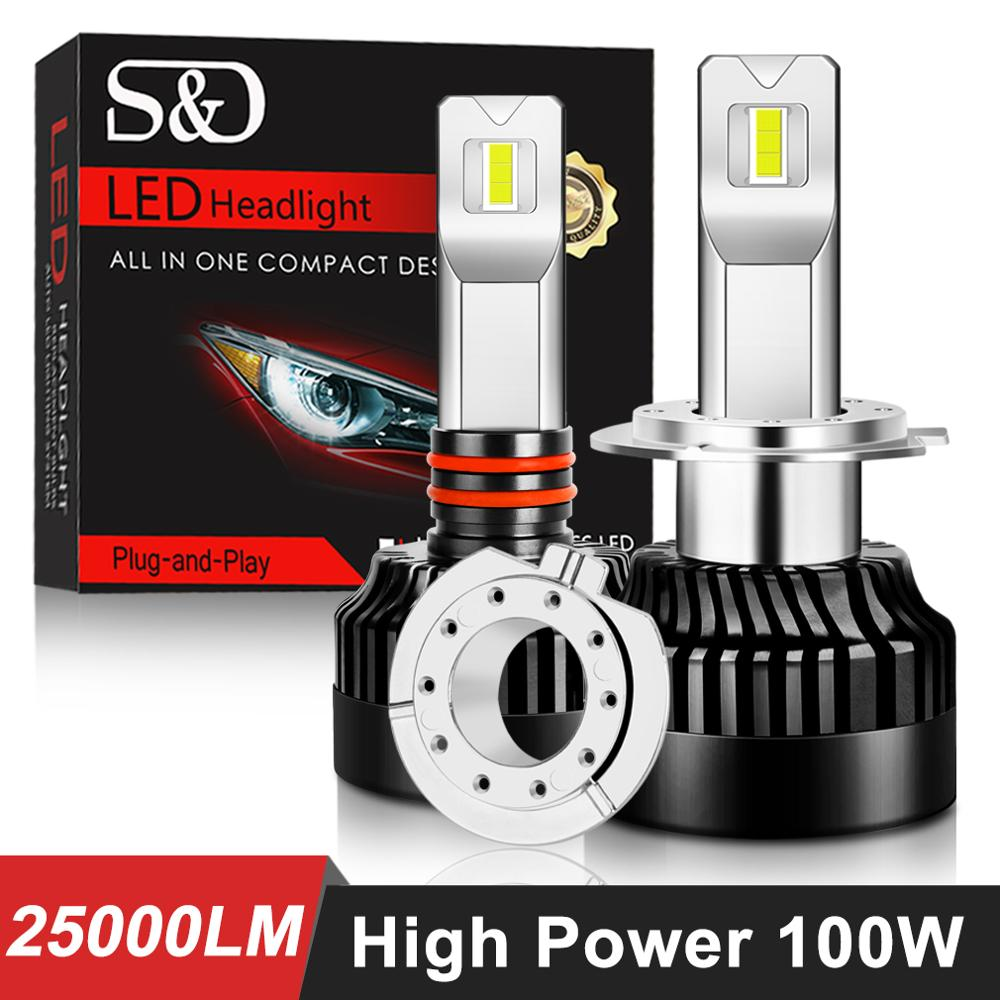 H7 LED Headlight-Bulbs Hir2-Lamp 9012 9006 Hb4 Canbus H11 9005 Hb3 25000lm 100W H8 Running-Lights