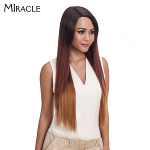 """Image 4 - Noble Hair Ombre Wig Colorful Heat Resistant Synthetic Hair Can Be Permed 32""""Inch Long Straight Lace Front Wigs For Black Women"""