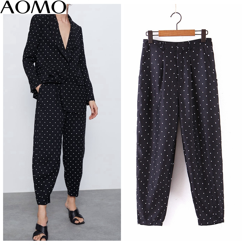 AOMO  Fashion Women Black Dots Suit Pants Trousers Pockets Buttons Office Lady Pants Pantalon SL81A