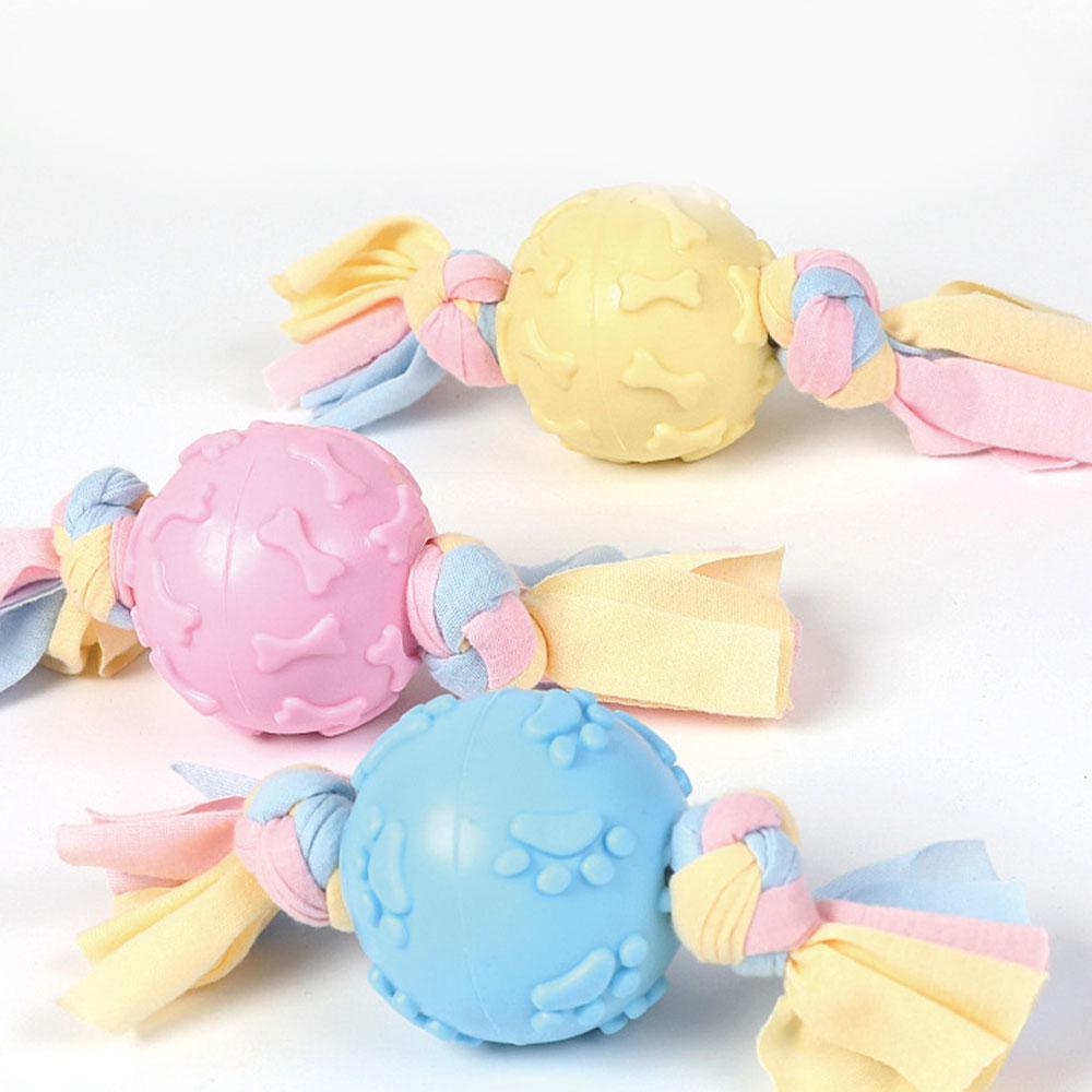 Купить с кэшбэком 1PCS TPR Pet Toy Footprint Ball Cloth Strip Dogs Bite Chew Tooth Cleaning Toys Chew Toys Puppy Dental Care Dog Pet Supplies