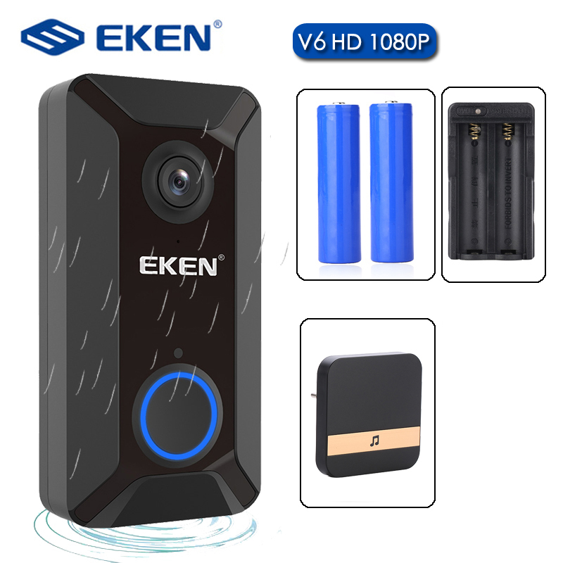 EKEN V6 Smart WiFi Video Doorbell Camera Visual Intercom With Chime Night Vision IP Door Bell Wireless Home Security Camera