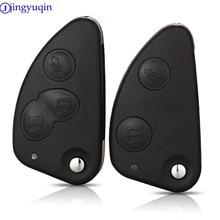 Jingyuqin capa de chave de carro, substituição de 2/3 botões controle remoto, flip, dobrável, para alfa romeo 147 156 166 gt, sem cortes lâmina de lâmina