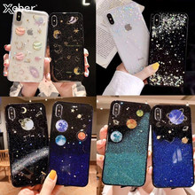 Funda de lujo Planet Starry Space Bling para Xiaomi 8 8SE Redmi 5 5 Plus Note5 Note6 Pro Soft parte trasera de purpurina Funda(China)