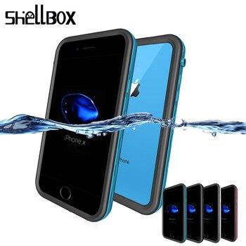 Funda impermeable Universal SHELLBOX para iPhone 7 8 Plus X XS Max XR, funda de natación para teléfono, funda impermeable para teléfono