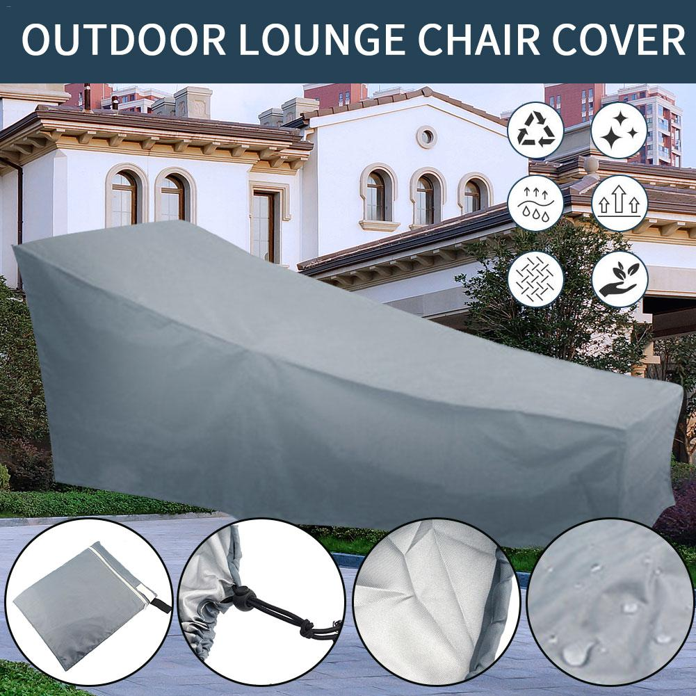 210D Gray Outdoor Lounge Chair Cover Rainproof Waterproof Furniture Dust-proof Garden Accessories UV Protector Dust Cover
