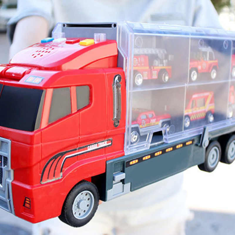 Truk Besar & 6 Pcs Mini Alloy Diecast Mobil Model 1: 64 Skala Mainan Kendaraan Truk Pengangkut Teknik Mobil Mainan untuk Anak-anak Anak Laki-laki