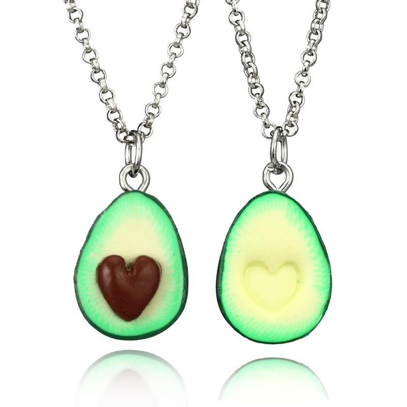 Fashion Fruit Necklaces For Women men Jewelry Black White Couple Necklace Soft Pottery Avocado Necklaces Pendants Best Gift