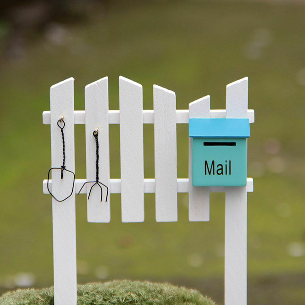 Mailbox Fence Miniatures Figurines Ornaments Home Decoration Crafts Wood Micro Landscape Props