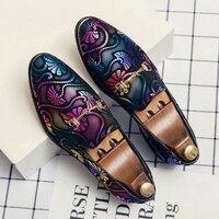 Frühling Business Männer Schuhe Gold Blau Erwachsene Kleid Schuhe Slip-on Mann Party Formale Schuhe Plus Größe Casual Schuhe für Herren