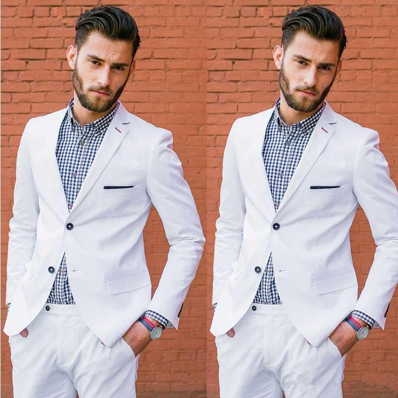 Formal Two Button Groomsmen White Men Suit Blazers For Party Prom Jacket + Pants Groom Wedding Suits Notched Lapel Mens Tuxedos