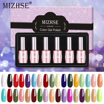 MIZHSE 18ML Gel Polish Varnish Gellak UV Gel LED Lamp Gelpolish Nail Art Design 6pcs Set Hot Sale Lacquer Resin Color Primer
