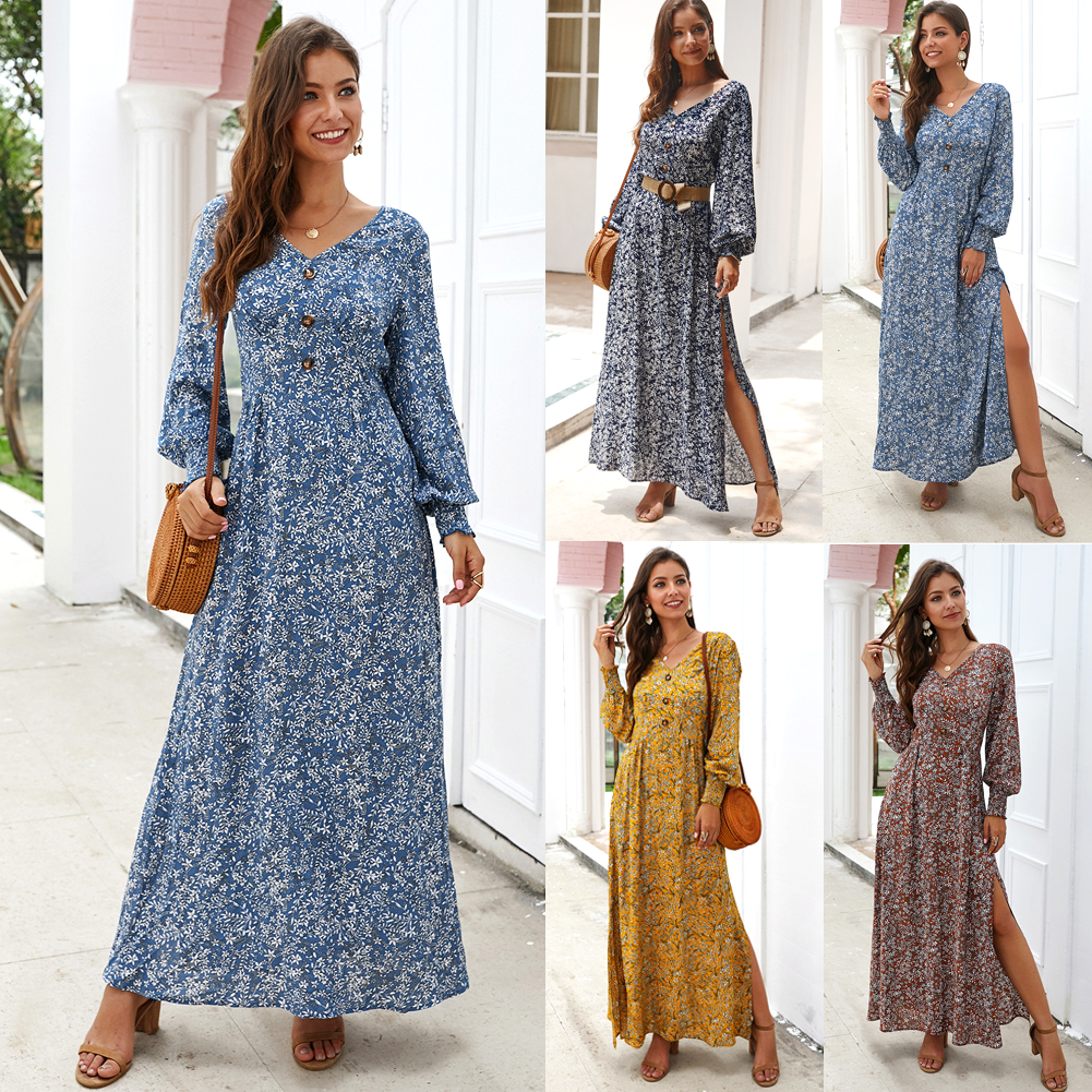 Women V-neck Long Sleeve Boho Holiday Dress Floral Print Puff Sleeve Button Vintage Maxi Dress Evening Party Dresses