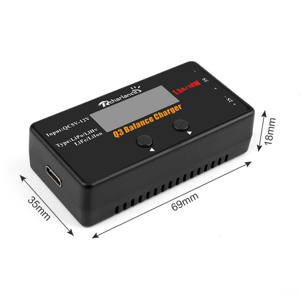 Q3 2-3S Balance Charger Li-Po/ Li-HV/ Li-Ion/ Li-Fe RC Battery Balance Digital Charger Discharger for RC Drone Car Battery