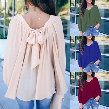 Office Lady Solid Color Long Sleeve O Neck Large Hem Back Bow Loose Blouse Top