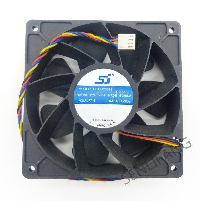 Original sj sg121238bs dc 12v 2.7a s7 s9 t9 l3 servidor quadrado fã de violência