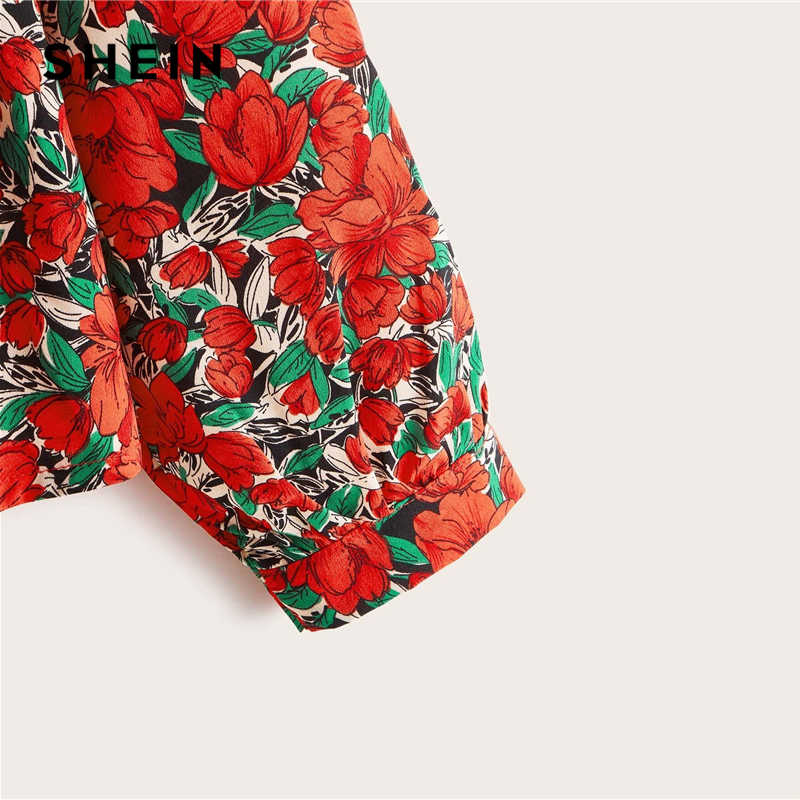 SHEIN Plus Größe Multicolor Chiffon Floral High Low Babydoll Bluse Frauen Frühling Schößchen Casual Boho Frauen Tops und Blusen